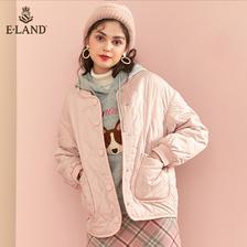 ¥499 ELAND2019秋冬新款糖果色棒球服领口长袖短款棉服女EEJP949C1M