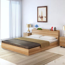 亿宸贵苏 板式储物收纳双人床 1.5米 框架结构 599元包邮
