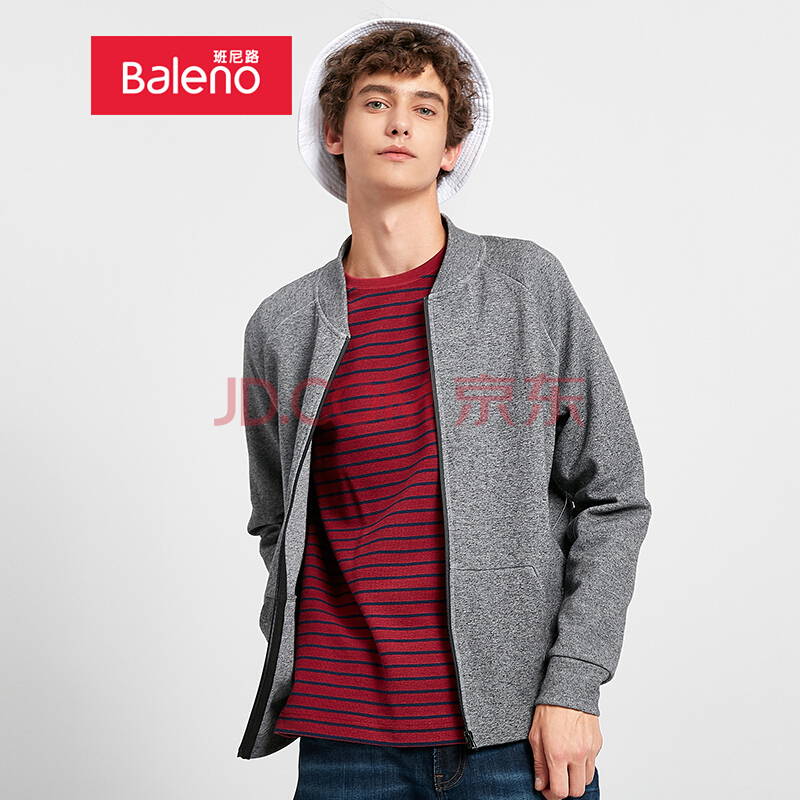 ¥84.5 Baleno班尼路 夹克男 潮流韩版棒球服纯色短款外套男 88831504 26E 棕花灰 L