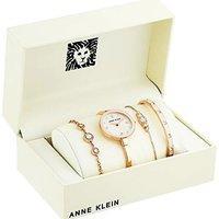 $57.99 (原价$195) Anne Klein 珍珠母贝施华洛世奇腕表4件套 超美粉金