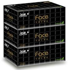 ¥77.8 洁柔(C&S)盒抽 黑Face 可湿水3层面巾纸136抽*3盒 无香 干湿两用 *5件