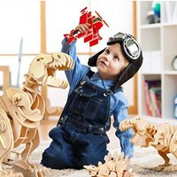 $15.59起 ROBOTIME 3D立体拼搭木质恐龙,能走会吼超逼真