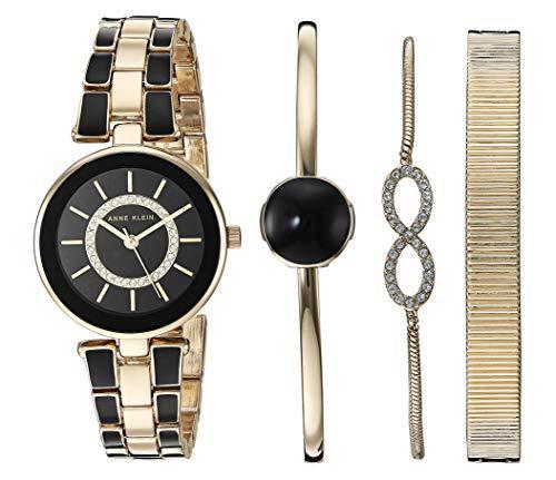 ¥328.46 Anne Klein 安妮·克莱恩 AK/3286BKST 施华洛世奇水晶 女士手镯手表套装 两色