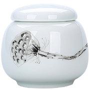 東茶西壺 陶瓷便攜茶葉罐小號車載茶罐香粉盒普洱罐 白瓷厚德小罐 *6件 63元(合10.5元/件)'