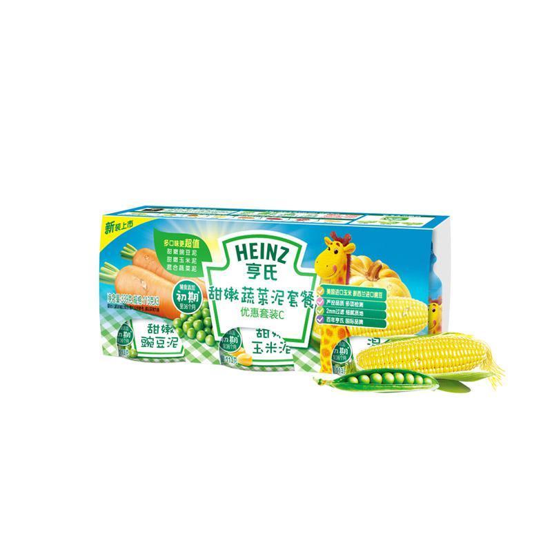 考拉海购黑卡会员: Heinz 亨氏 婴幼儿果泥套餐 113g*3 甜嫩蔬菜 *8件 103.6元包邮(合12.95元/件)