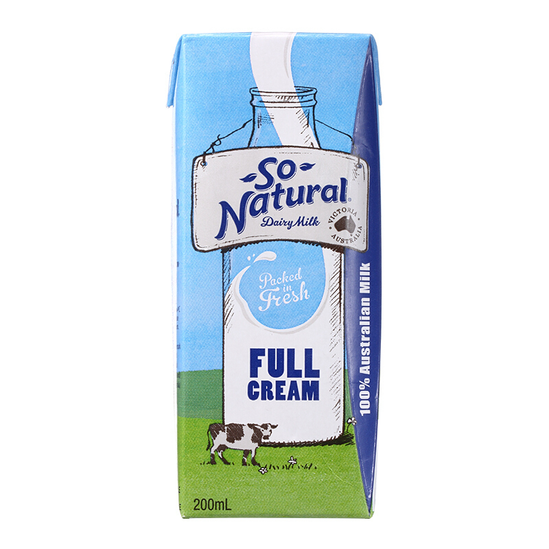 ¥29.5 So Natural 澳伯顿 全脂纯牛奶 200ml*24盒