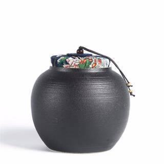 AlfunBel 艾芳贝儿 C-86-11-9 粗陶麻布盖茶叶罐 大号F款 黑色 69元