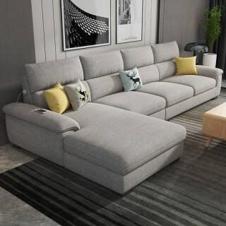 可拆洗 乳胶沙发全实木框架 3人位贵妃北欧现代客厅整装家具  券后2880元