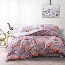 富安娜出品 圣之花 磨毛四件套 印花床上套件 双人床单被套 花语海岸 1.8米/