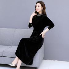 ¥178 2019春季新款长款黑色金丝绒打底裙