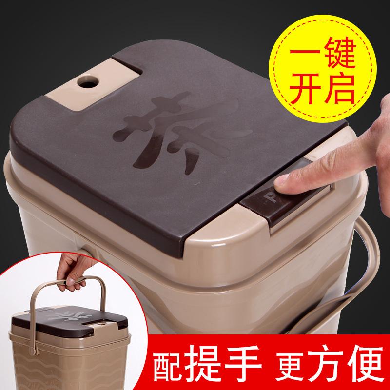 茶渣桶茶桶塑料废水桶功夫茶具配件茶台垃圾桶家用排水桶小茶水桶 17元