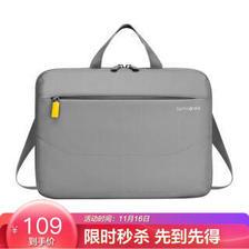新秀丽斜跨单肩电脑包MacBook苹果笔记本商务公文包13.3或14英寸BP5浅灰 *4件 35