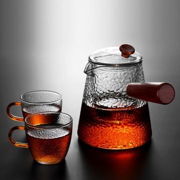 49元包邮!日式茶具 耐高温锤纹玻璃煮茶壶 功夫茶具套装 需用10元优惠券 送茶杯一对