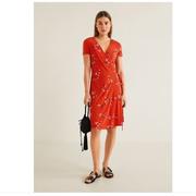 MANGO 41097776 女装V领系带包裹式短袖连衣裙 89元'