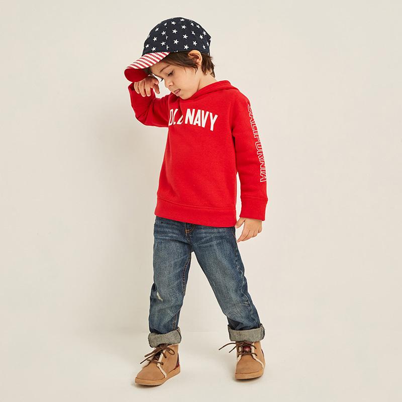 Old Navy男婴幼童字母连帽卫衣480887A 2019亲子款儿童抓绒上衣 105元