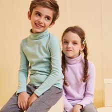 【狂欢秒杀价:39元】souhait水孩儿童装2019秋冬装新款时尚高领打底衫儿童长