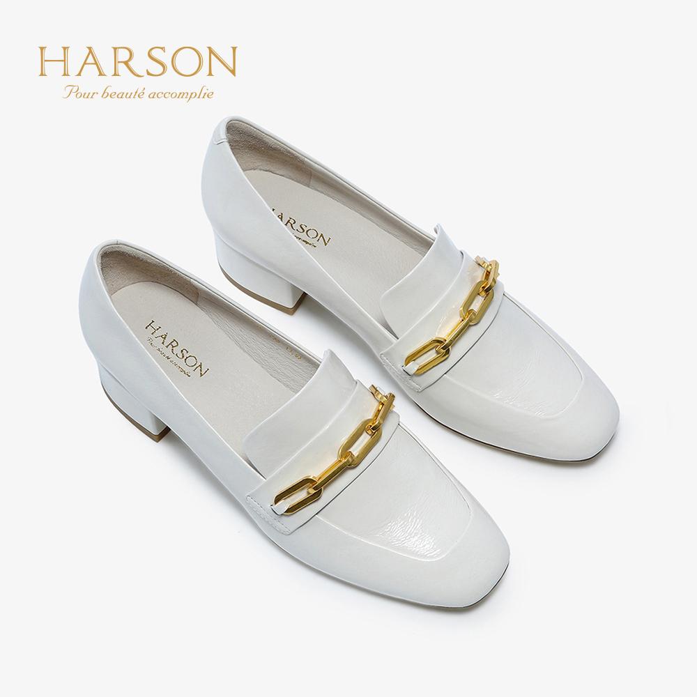 哈森 2019春季新款通勤中跟百搭单鞋女 牛皮革乐福鞋女 HS92402 499元