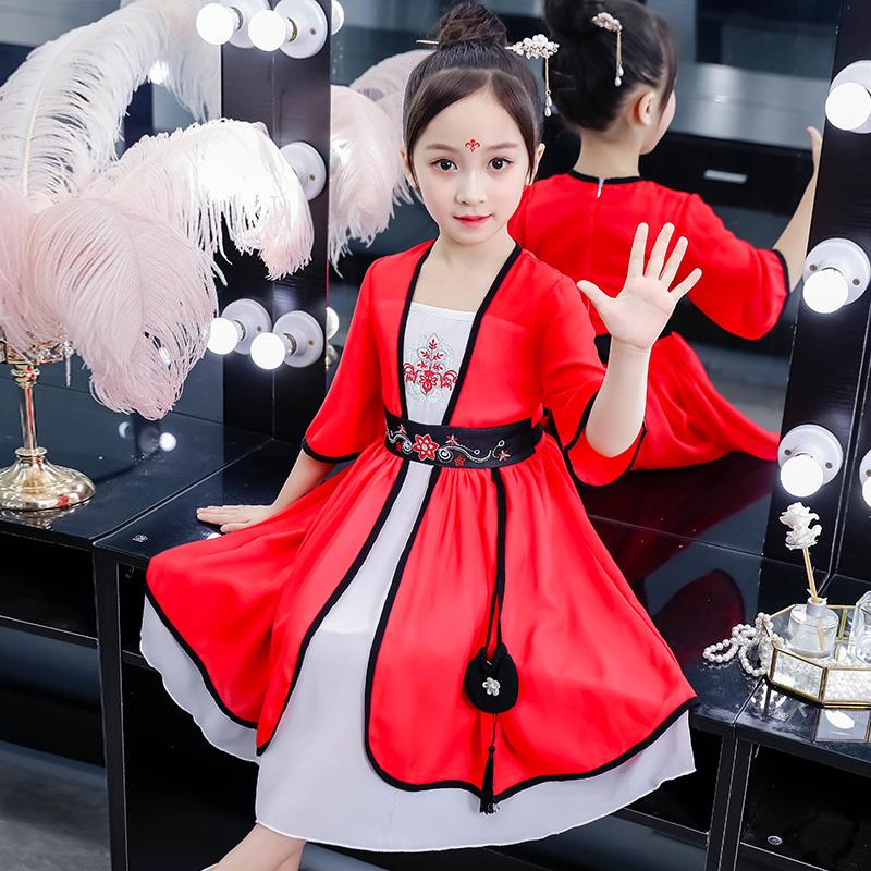 ¥59 汉服超仙女童秋装连衣裙子中国风古装秋季儿童装唐装古风大童女孩