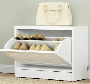 JIAYI 家逸 实木鞋柜 一翻白色 25cm 389元包邮