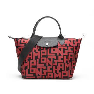 珑骧(LONGCHAMP) 2019新品 女士LE PLIAGE LGP系列黑色砖红色字母图案织物中号短柄手提单肩包 1515 412 C09 1368元