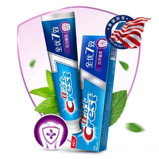 京东PLUS会员、运费券收割机: Crest 佳洁士 全优7效 抗牙菌斑 牙膏 140g  券后1.11元