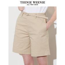 TeenieWeenie小熊2019夏季新款女装简约版型可拆卸腰带休闲短裤 379元
