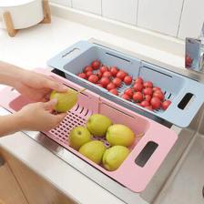 可伸缩调节水槽伸缩洗菜篮 16.9元