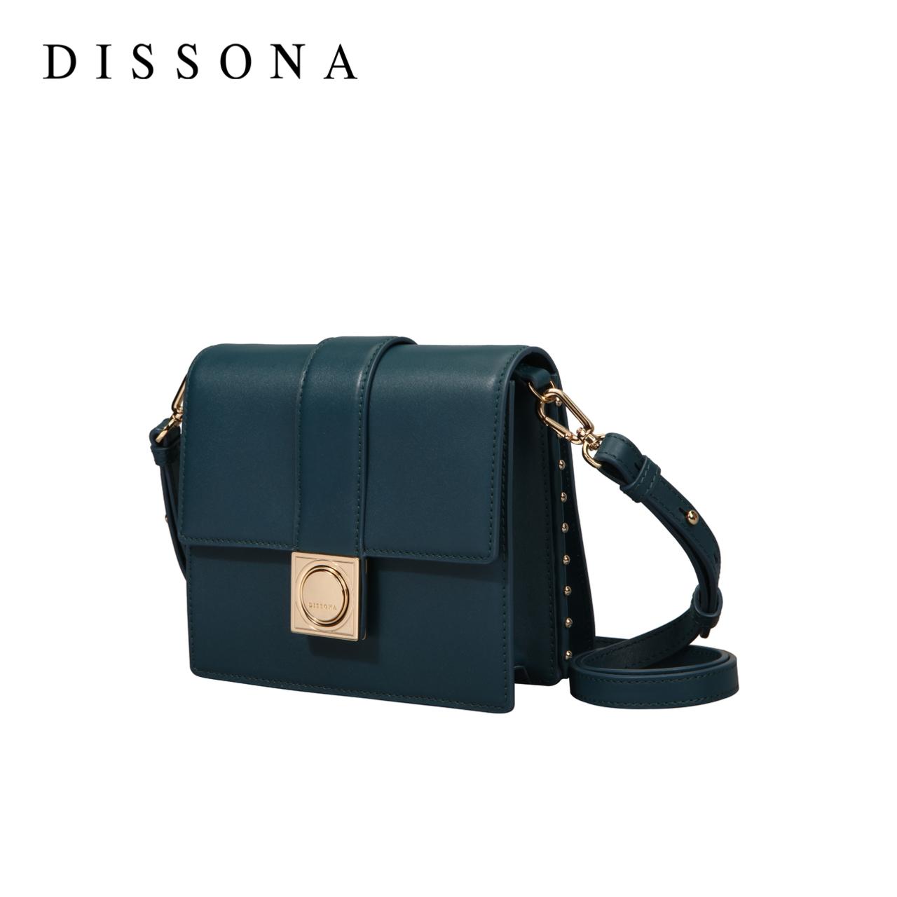 迪桑娜女包时尚小方包 简约真皮小包风琴包 590元