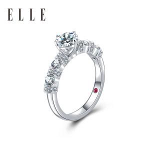 法国 ELLE 莫桑石镀铂金戒指 一克拉 硬度仅次于钻石 凑单低至386元66清仓价 仅限今日