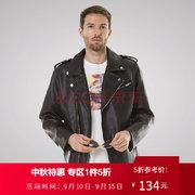 ¥134.5 Luxury Lane 秋季男士皮衣机车夹克PU皮衣摩托夹克外套 黑色 M'