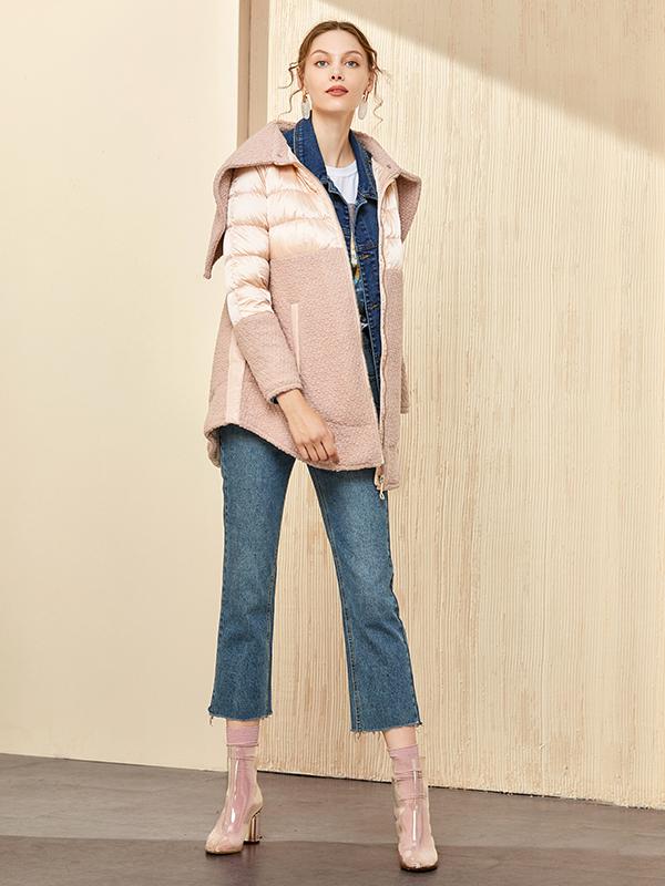 ¥139 艾莱依(ERAL)女士羽绒服 艾莱依羊羔毛拼接修身羽绒服女加厚中长款保暖6055D