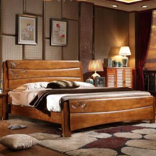 木巴 家具 中式橡胶木实木床1.8米双人床海棠色婚床 卧室家具 C100 1800*2000 *3件 4077.6元(合1359.2元/件)