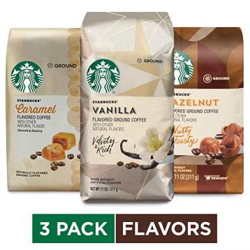 ¥234.47美国直邮!星巴克 Starbucks 三种口味咖啡粉311g*3包组合(焦糖 香草 榛子) 阿拉比卡咖啡豆研磨粉(折合85.27/包含税)