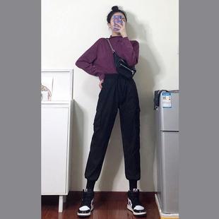 束脚工装裤女高腰女裤子加绒运动裤 券后¥34.8