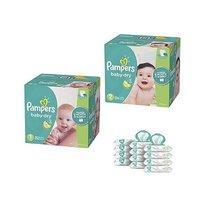 立减$25 $98.63(原价$123.63)Pampers Baby Dry系列尿不湿1号252片+2号234片+宝宝湿巾12