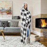 $13.20(原价$31.95)Walmart 精选可穿式黑白格子家用毯