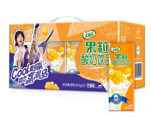 ¥18 伊利 优酸乳果粒酸奶饮品芒果味245g*12盒