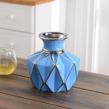 Hoatai Ceramic 华达泰陶瓷 花瓶摆件 矮款蓝 40元包邮