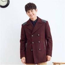 ¥59 2019冬新品呢子外套男羊毛呢大衣男拼皮燕尾显瘦大衣男士大衣