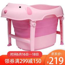 150元 日康儿童洗浴桶可折叠洗澡桶宝宝洗澡桶婴儿洗澡盆 加大加厚 RK-X1018