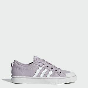 折合161.7元 adidas Originals三叶草Nizza女士香芋紫条纹板鞋