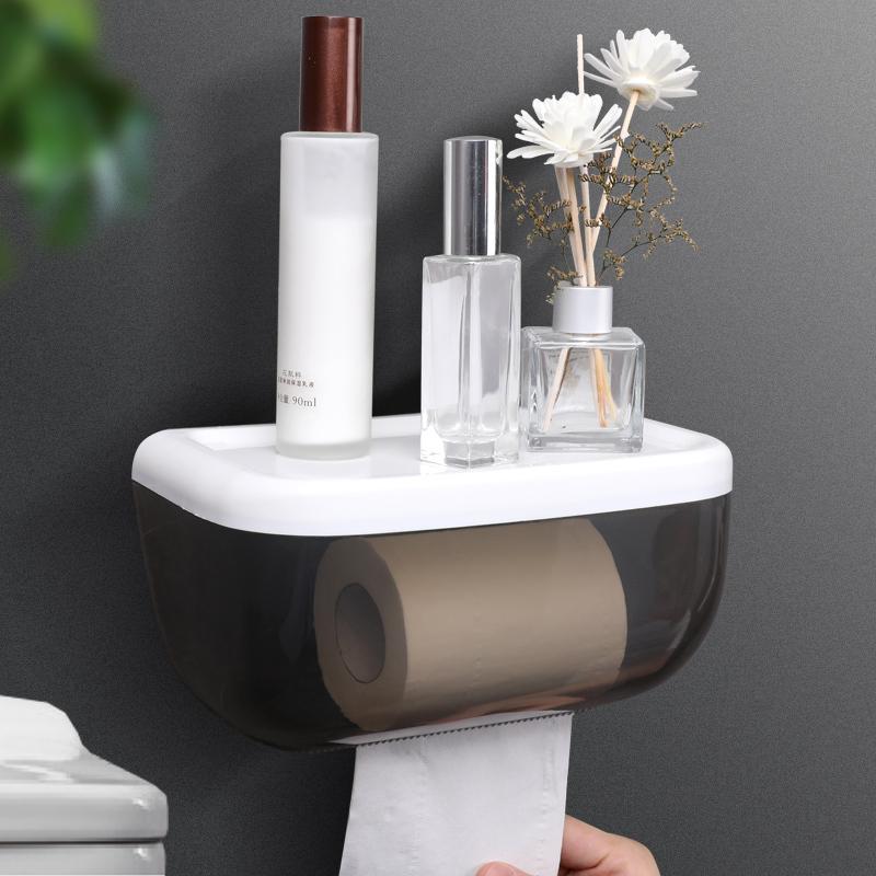 厕所家用免打孔创意防水卫生纸盒卫生间纸巾厕纸置物架抽纸卷纸筒 5.5元