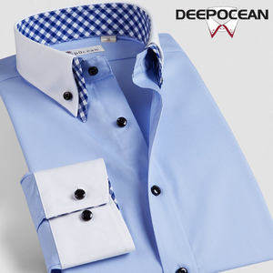 日本 深海 DeepOcean 新款 双领不变形 高支精梳棉 男免烫长袖衬衫 98元包邮
