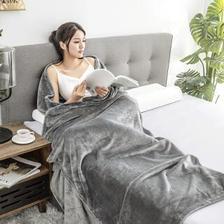 京东京造 法兰绒毯子 超柔毛毯 午睡空调毯 加厚床单150x200cm 高级灰 53.55元