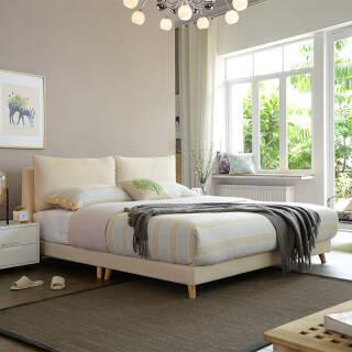 A家家具 床 布艺床 北欧卧室1.8米双人床 现代简约可拆洗软靠床 米黄色1.8米床+床垫*1+床头柜*1 DA0120-180 2479元