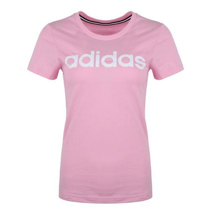 ¥66 adidas neo阿迪休闲女短袖字母logo黑白红粉圆领运动T恤 DW7941