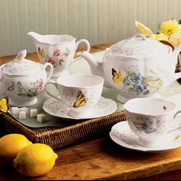 590元免运含税!Lenox莱诺克斯 Butterfly Meadow 蝴蝶草甸茶具8件套 美国直邮