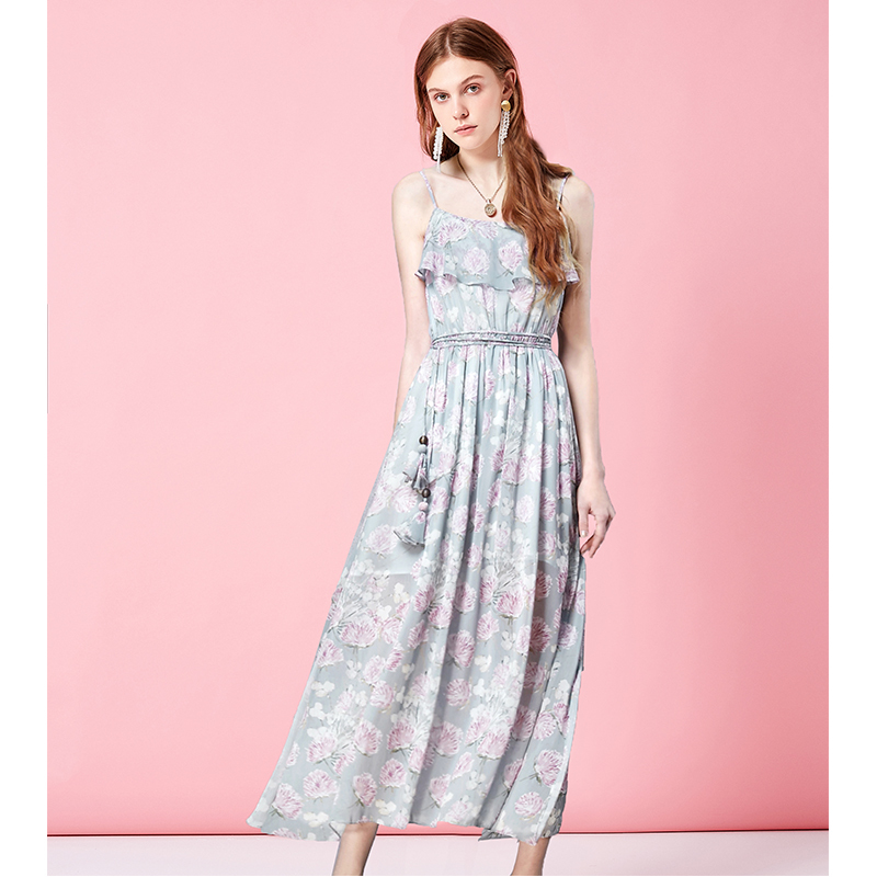 Artka阿卡女装夏季荷叶边收腰显瘦吊带雪纺连衣裙长款LA11060X *3件 537元(合179元/件)