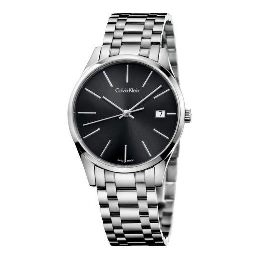 4倍差价!Calvin Klein TIME系列 日历黑盘钢带石英情侣表K4N23141 直邮到手477元(京东2029元+)