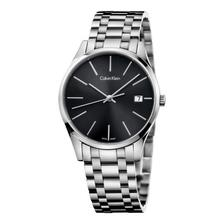 4倍差价!Calvin Klein TIME系列 日历黑盘钢带石英情侣表K4N23141 直邮到手477元(